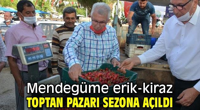 Mendegüme erik-kiraz toptan pazarı sezona açıldı